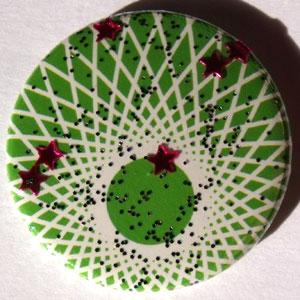 Green & White Stars Spirograph 25mm Badge