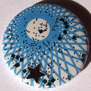 Blue & White Stars Spirograph 25mm Button Badge