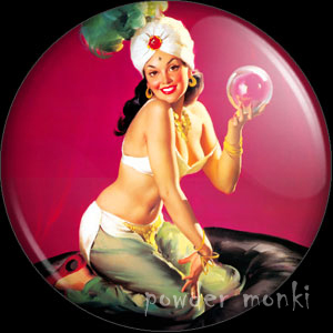 "Elvgren ""I'm A Happy Medium"" - Pin-Up Girl Badge/Magnet"