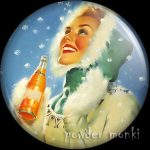 "Runci ""Nesbitt Orange Soda Ad"" - Pin-Up Girl Badge/Magnet 2"