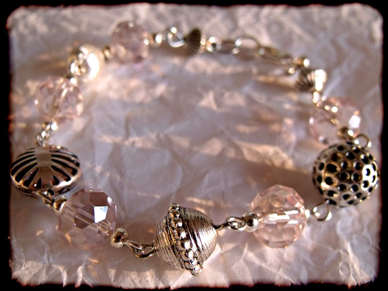 Light Pink Faceted Crystal & Silver Bead Bracelet