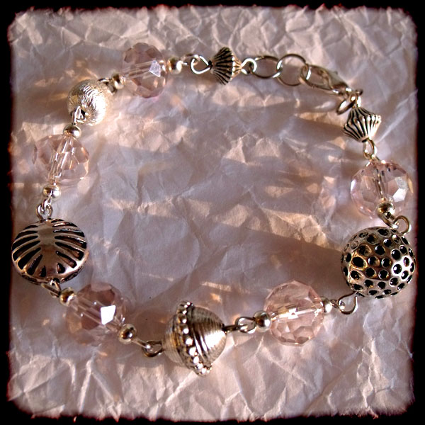 Light Pink Faceted Crystal & Silver Bead Bracelet - Click Image to Close