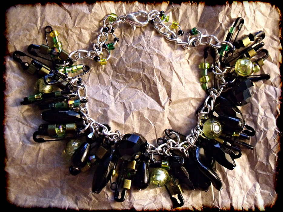 Black Safety Pins, Green Beaded Charm Bracelet