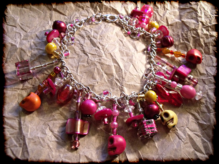 Pink, Orange & Yellow Beaded Charm Bracelet