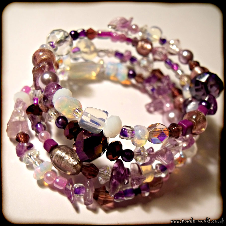 Purple & Opalite Glass Bead Memory Wire Bracelet