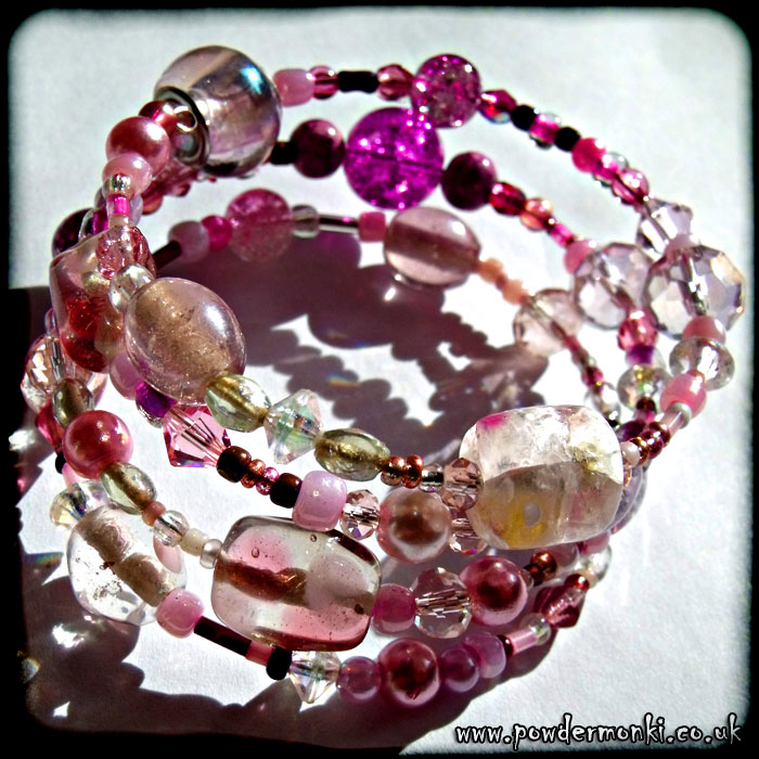 Pink Glass Bead Memory Wire Bracelet