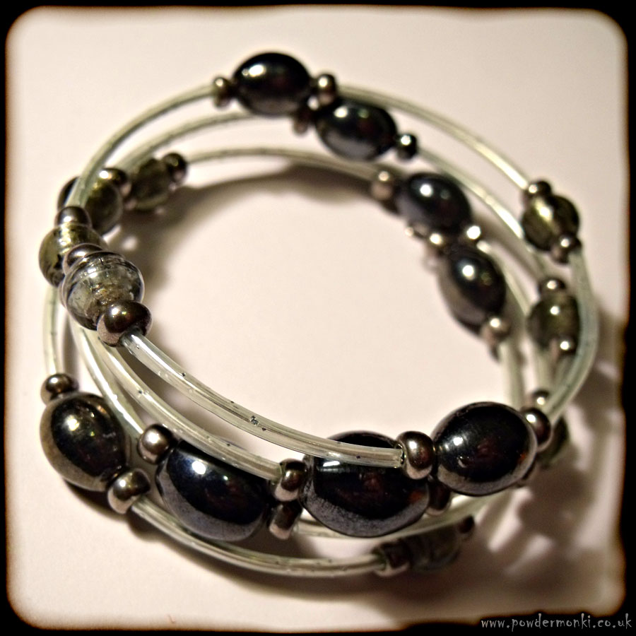 Dark Silver Mirrored Glass Bead Memory Wire Bracelet