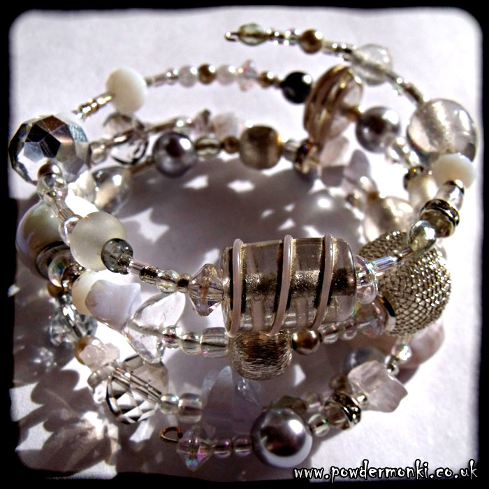 White, Clear & Silver Glass Bead Memory Wire Bracelet