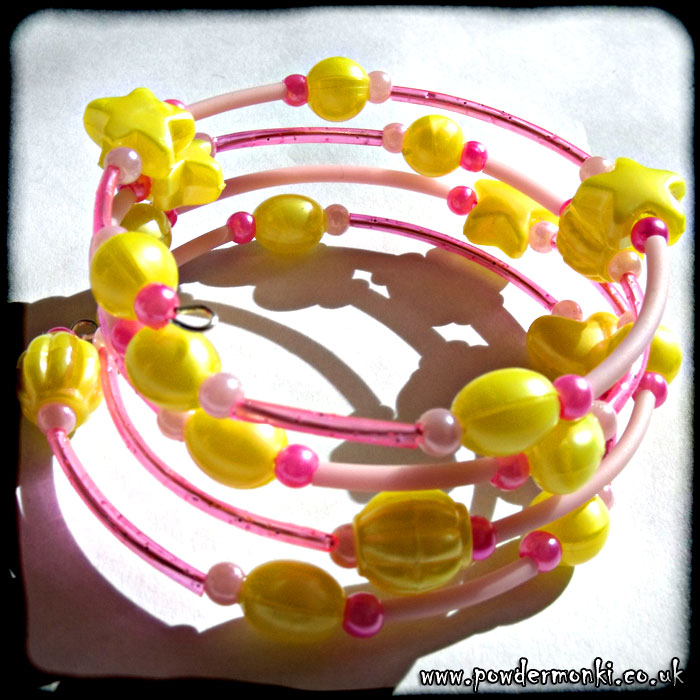 Yellow Bead & Pink Rubber Tube Memory Wire Bracelet
