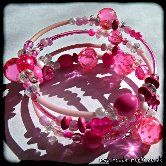 Pink Bead & Rubber Tube Memory Wire Bracelet