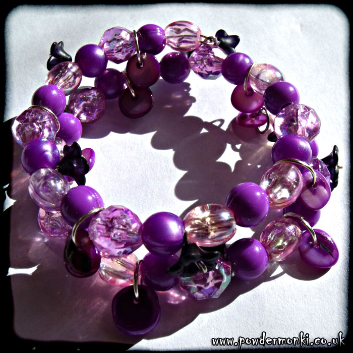 Purple Bead & Black Flower Memory Wire Bracelet