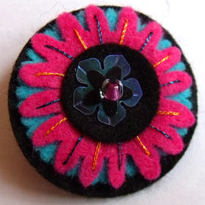 Pink, Blue & Black Felt Brooch