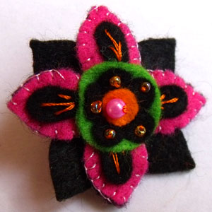Pink, Black & Green Flower Felt Brooch