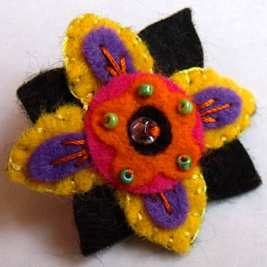 Yellow, Orange, Pink, Purple & Black Flower Felt Brooch