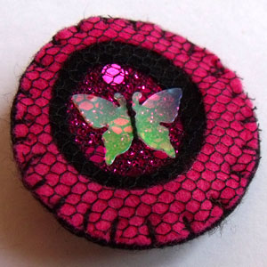 Pink & Black with Butterfly Sequin Felt Brooch