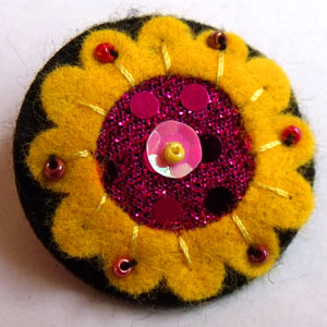 Yellow & Sparkly Pink Felt Brooch