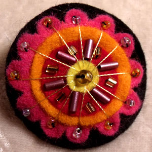 Pink, Orange, Red Blue & Black Felt Brooch