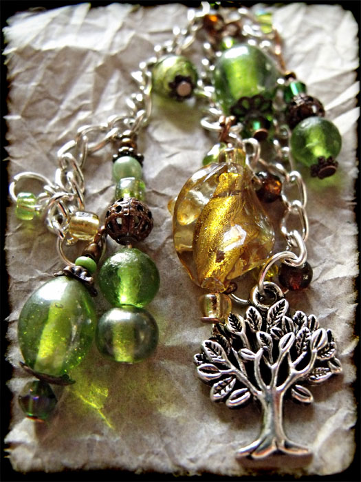 Green, Amber & Copper Beaded Tree Bag Charm