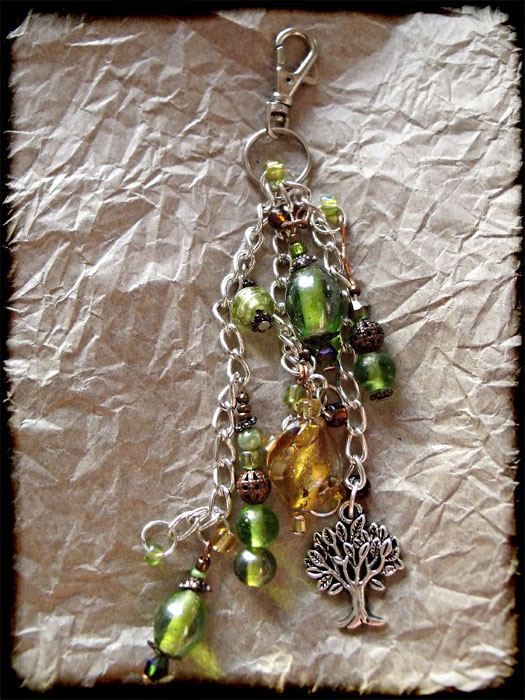 Green, Amber & Copper Beaded Tree Bag Charm - Click Image to Close