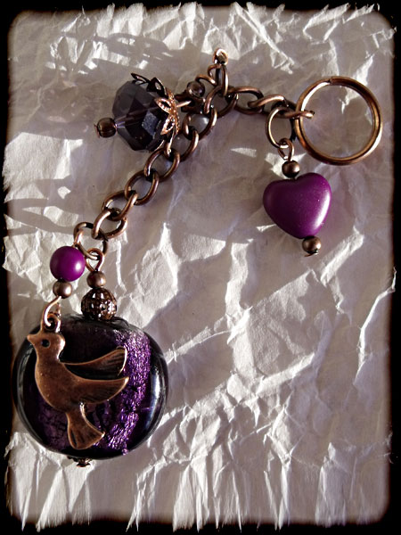Purple & Copper Beaded Bird Bag Charm