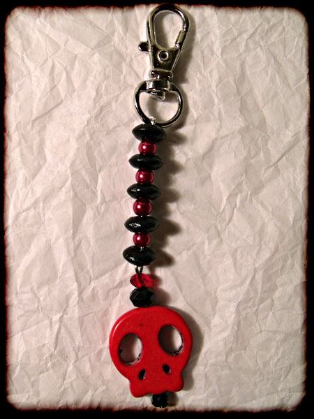 Red & Black Skull Bag Charm