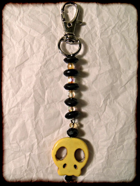 Yellow & Black Skull Bag Charm