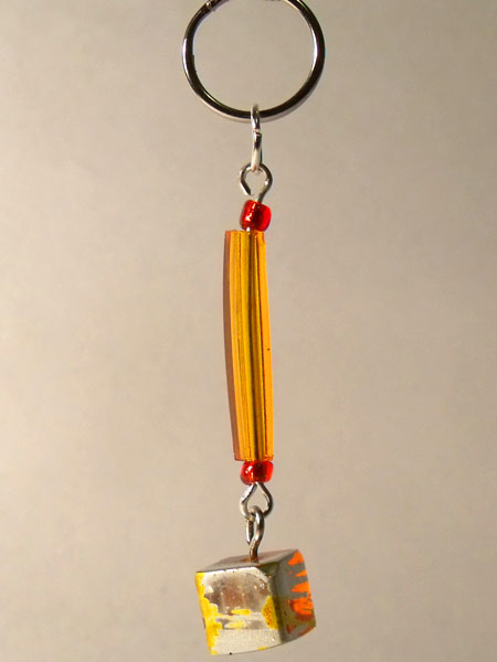 Orange Tube & Glass Cube Key Charm/Mini Bag Charm