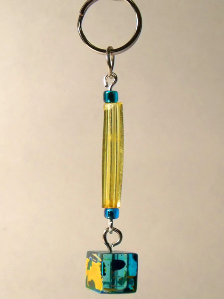 Blue Yellow Tube & Glass Cube Key Charm/Mini Bag Charm