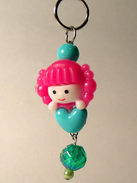 Cute Girl Pink & Turquoise Kawaii Key/Bag Charm