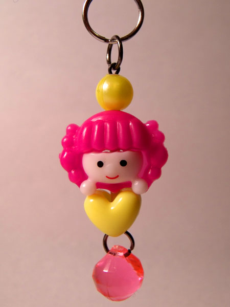 Cute Girl Pink & Yellow Kawaii Key/Bag Charm