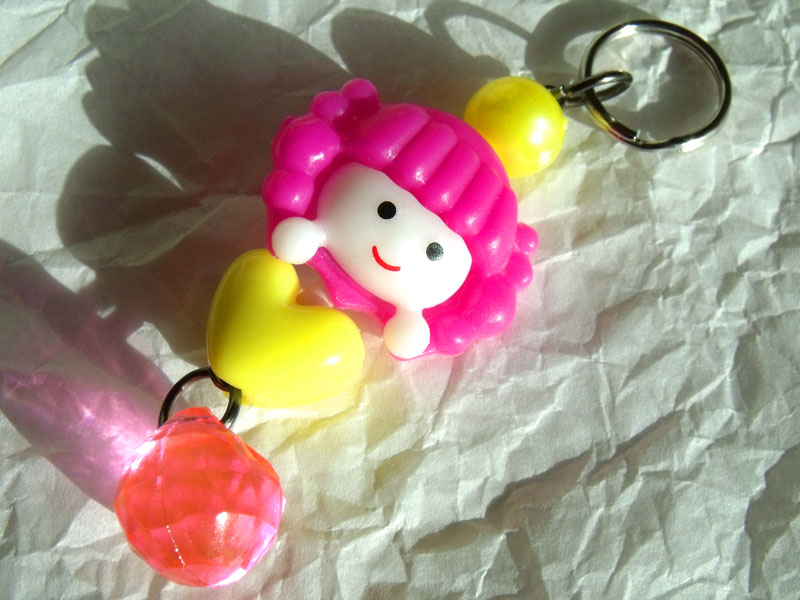 Cute Girl Pink & Yellow Kawaii Key/Bag Charm - Click Image to Close