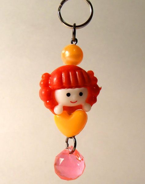 Cute Girl Red & Orange Kawaii Key/Bag Charm