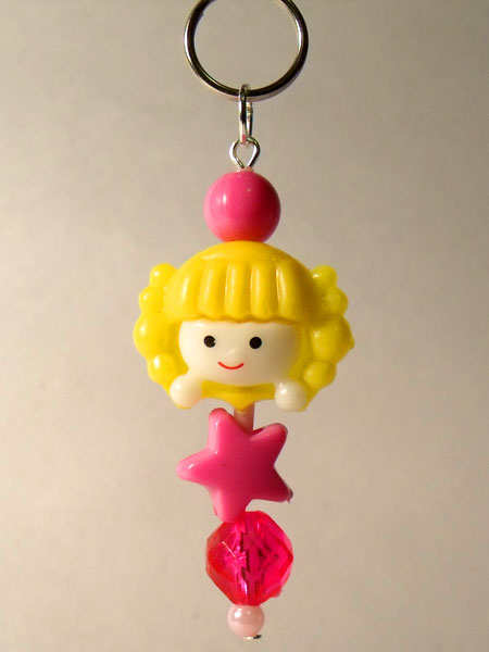 Cute Girl Yellow & Pink Kawaii Key/Bag Charm