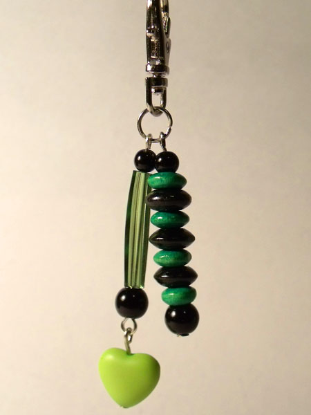 Green Heart, Tube & Wooden Beads Key/Mini Bag Charm