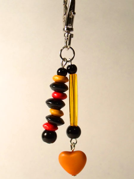 Orange Heart, Tube & Wooden Beads Key/Mini Bag Charm