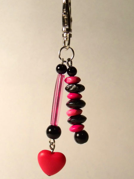Pink Heart, Tube & Wooden Beads Key/Mini Bag Charm