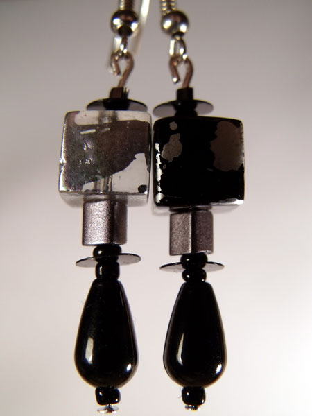 Black, Clear & Silver Glass Cube Earrings