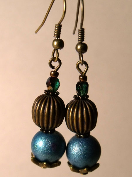 Blue & Antique Bronze Earrings