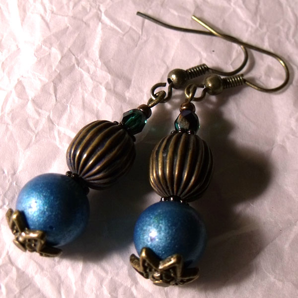 Blue & Antique Bronze Earrings - Click Image to Close
