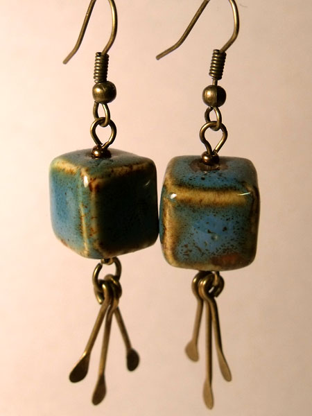 Blue Raku Ceramic Cube Earrings