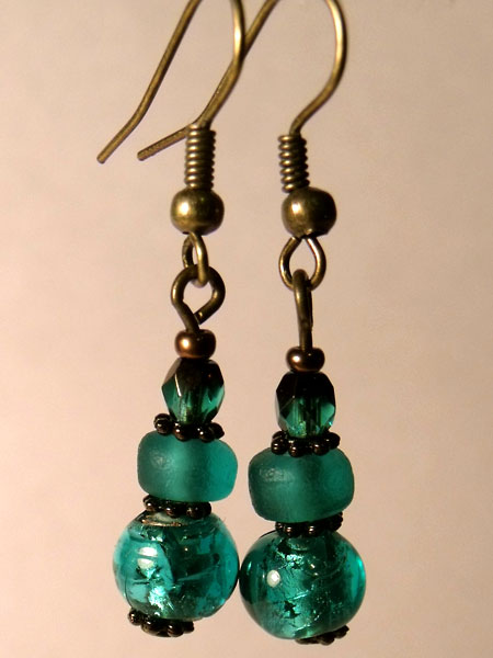 Green Turquoise Foil Glass Earrings