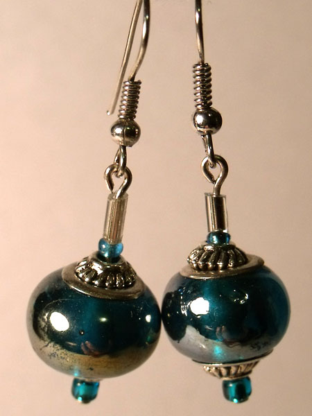 Blue Iridescent Glass Lampwork and Silver Earrings