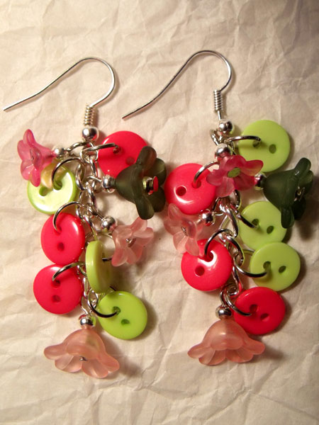 Pink & Green Flowers & Button Earrings