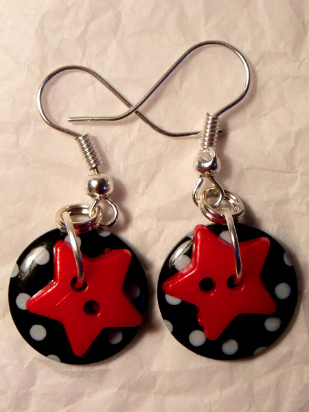 Black & Red Polka Dot & Star Button Earrings