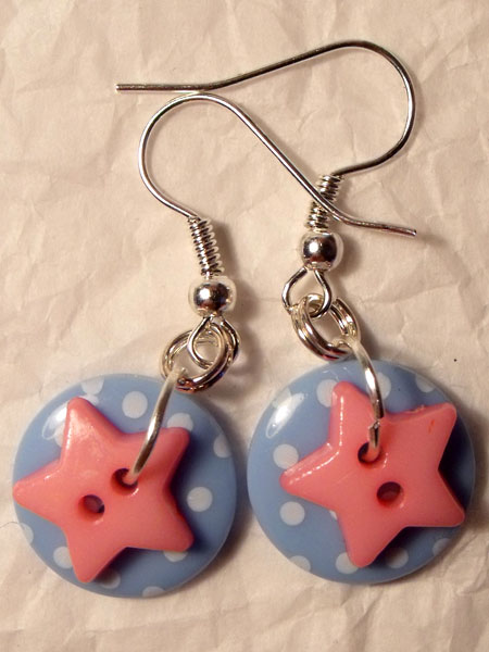 Blue & Pink Polka Dot & Star Button Earrings