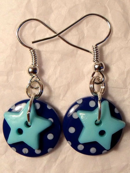 Dark Blue & Light Blue Polka Dot & Star Button Earrings