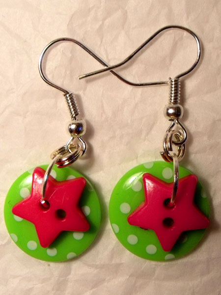 Green & Pink Polka Dot & Star Button Earrings