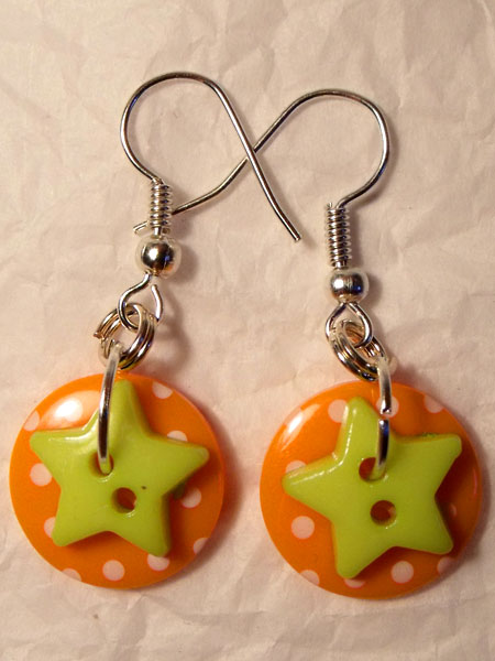 Orange & Green Polka Dot & Star Button Earrings