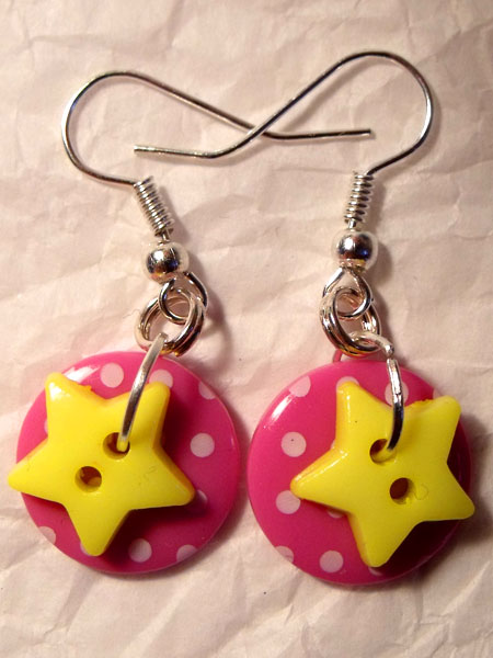 Pink & Yellow Polka Dot & Star Button Earrings