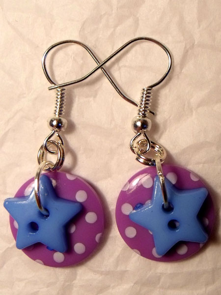 Purple & Blue Polka Dot & Star Button Earrings